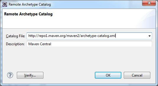 Add Maven Central Remote Archetype Catalog