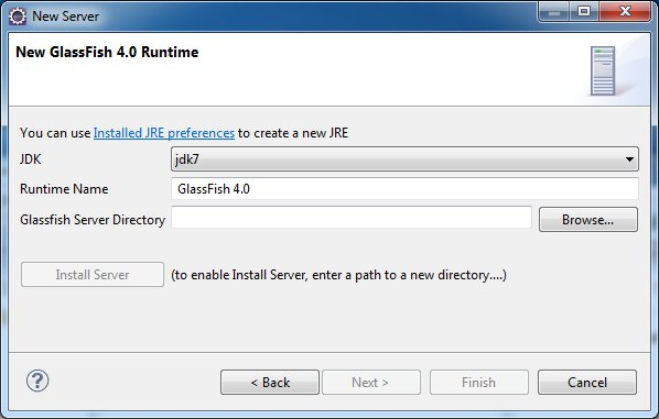 Define a New GlassFish 4.0 Runtime