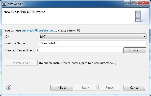 Define a New GlassFish 4.0 Runtime