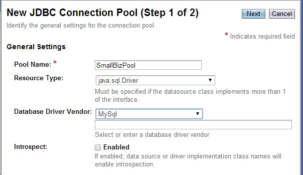 New JDBC Connection Pool (Step 1)