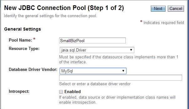 New JDBC Connection Pool (Step 1)